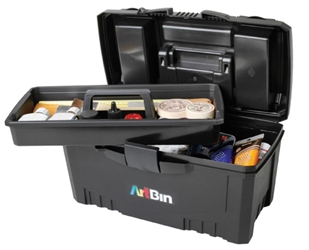 "17"" Twin Top Supply Box- Black, 6918AB 17in. Twin Top Supply Box, lift out tray box, art box, craft box, tray box, 17"" twin top supply box, black, art supply, twin top, lift out tray, lockable, 6918AB, artbin, tackle box"