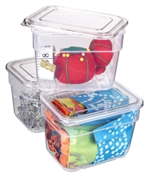 3 pack Bins with Lids (Clear), 6969AG with Three Containers
