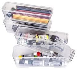 4 Pack Long Bins with Lids (Clear), 6971AG 4 Long Bins with Paint and Color Pencils