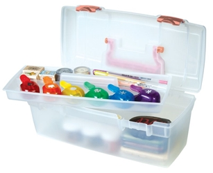 Essentials™ Lift-Out Tray - Coral latches & handle, 6936AG essentials lift out tray box, art supply box, container, lift out tray, artbin, plastic, coral, 6936AG, kids art and craft storage, kids art box, children, back to school