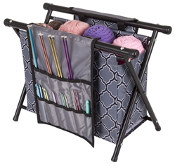 Needle Arts Caddy-Gray Print - 6932AG needle arts caddy, yarn storage, knitting, crochet, gray print, yarn holder, storage,artbin, 6932AG