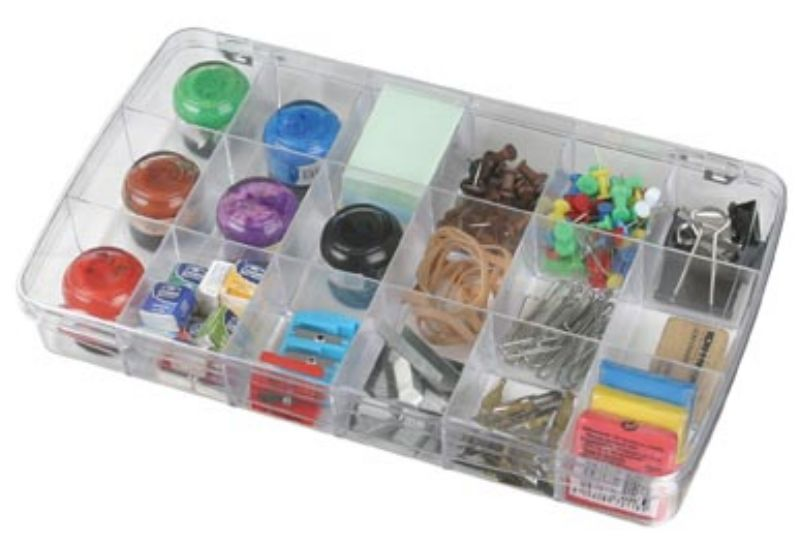 Prism 18-Compartment Box, 1118AB clear boxes, small supply storage, styrene boxes, divided boxes, 1118AB, artbin, prism, 18 compartment, box, divided, container, bead box, notions box, embellishment box,