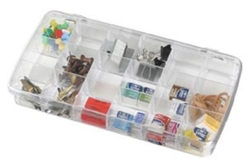 Prism™ Box 18 Compartment, 918AB clear, styrene, clear box, small supply storage, Prism 18 compartment box, container, divided, crystal clear, beads, buttons, embellishments, 918AB