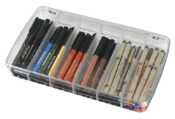Prism™ 6-Compartment Box, 1106AB clear boxes, small supply storage, styrene boxes, divided boxes, 1106AB, prism box, six compartment box, container, storage, clear, box, marker box, pencil box, pen box,  art supply storage, artbin, divided