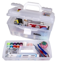 "17"" Twin Top Supply Box-Trans/White, 6918AH 17"" twin top supply box, white, art supply, twin top, lift out tray, lockable, 6918AH, artbin, tackle box,17in. Twin Top Supply Box"