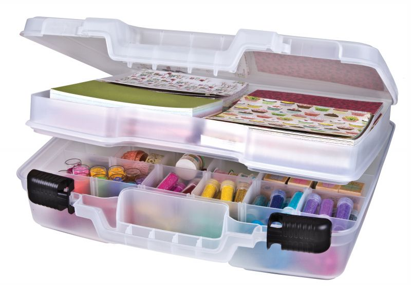 "15 inch  Quick View™ Case-Deep Base - Div. Interior/Lift-Out Tray, 6962AB 15""  quickview, quick view case, 15 inch, deep base, carry case, box, satchel, artbin, 6962AB, divided, dividers, coloring book, pens, pencils, markers, drawing"