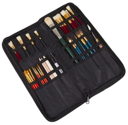 Brush Folio, 6830AG Artbin, paint, brush, storage, portfolio, fabric, black, gray, 6830AG, brush folio, brush portfolio, pencil, pen, marker, clip on,  zippered portfolio