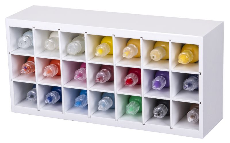 Paint Storage Tray, 6828AG artbin, craft paint, glitter glue, paint brush, wooden, storage rack, wall mount, hang,white, super satchel,storage, organization, 6828AG, paint storage tray, paint, rack, paint bottle, marker, wood,  shelf