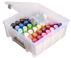 Super Satchel™ Double Deep with Removable Dividers, 6990AB super, super satchel, super satchels, satchels, satchel container, container, satchel storage, storage, super satchel double deep, storage box, adjustable dividers, scrapbooking, card making, fat quarters, paint tubes, large, acid free, 6990, 6990AB, clear,best seller