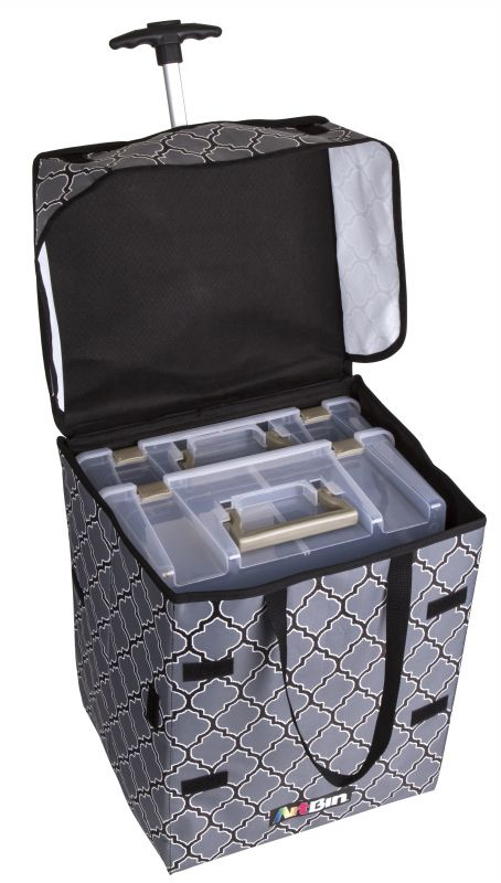 Rolling Tote Lightweight Collapsible Craft Bag Black And